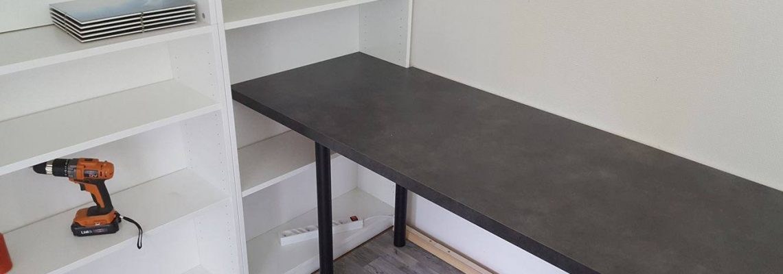 Step 7 - Fit a kitchen counter as the desk...